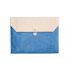 13寸 橫款 米白色 拼 天藍色 公文袋形 電腦包...