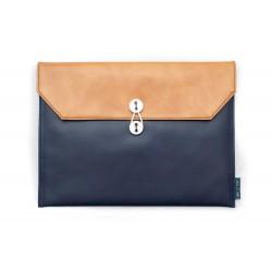 """13"""" 13寸 橙啡 拼深藍色 公文袋形 電腦包..."""