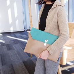 13寸 綠松拼卡其色 公文袋形 電腦包 筆記本電腦包 內膽包